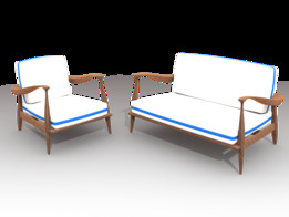 SET LOVE SEAT CHAIR AND EXTERIOR DESIGN CARVED WOOD