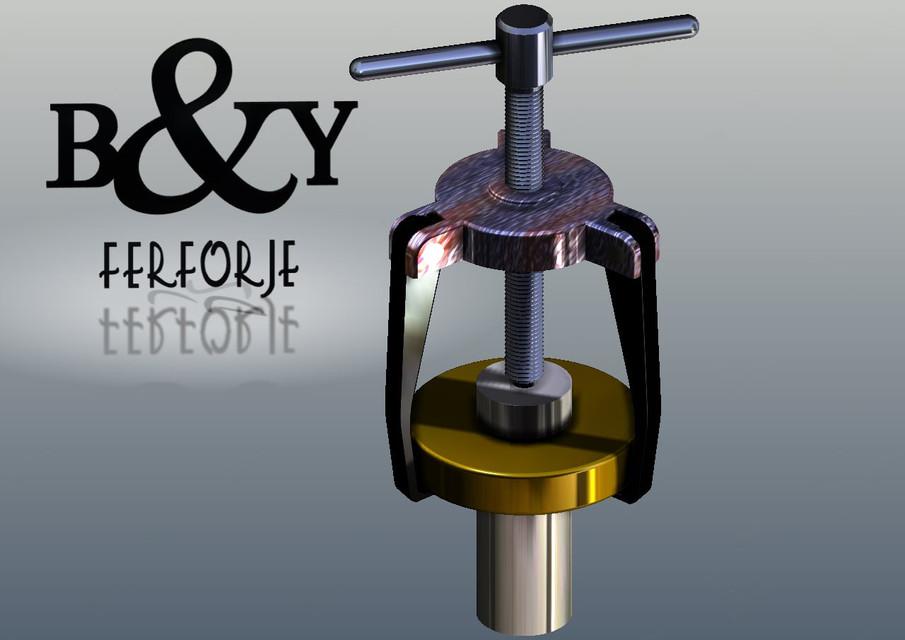 Bearing Puller Cad : Three legged puller solidworks d cad model