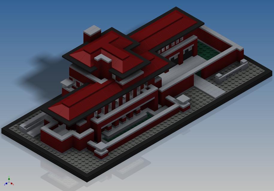 lego architecture - robie house (21010) - autodesk inventor - 3d