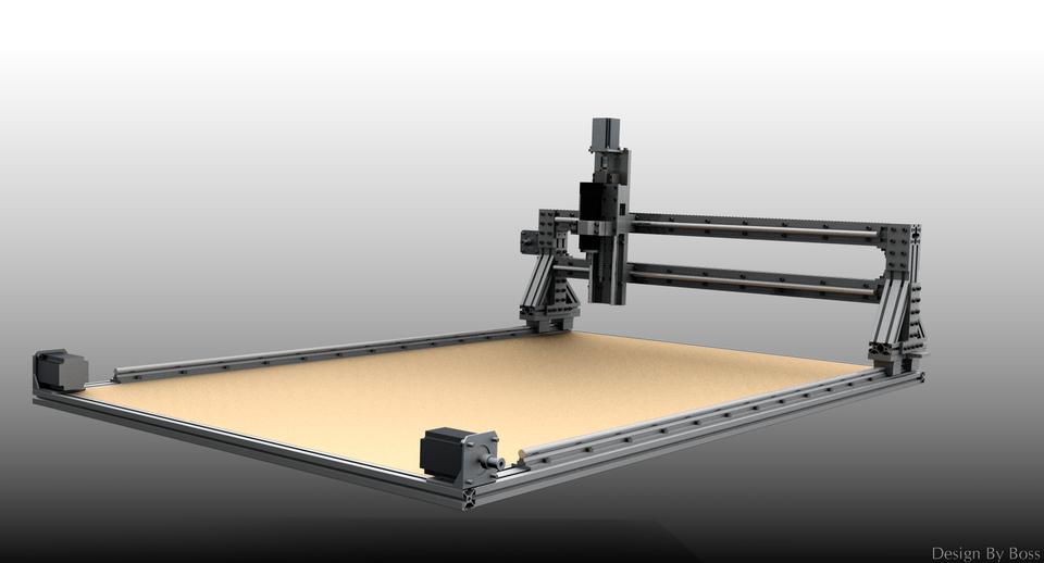 1480 x 880 x 350 (XYZ) Mobile Gantry CNC | 3D CAD Model
