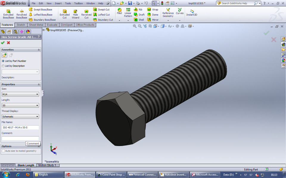 M14 bolts solidworks 3d cad model grabcad for Design table not working solidworks