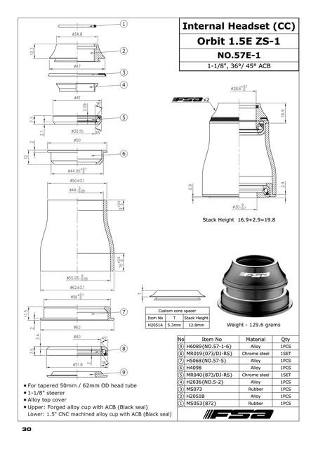 Mountain Bike Headset - FSA Orbit ZS-1 (#57-E-1) | 3D CAD Model