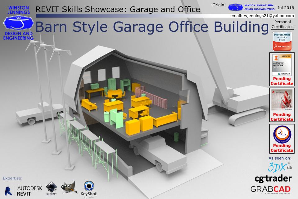 Revit Skills Showcase: Barn Style Garage Office Building   3D CAD