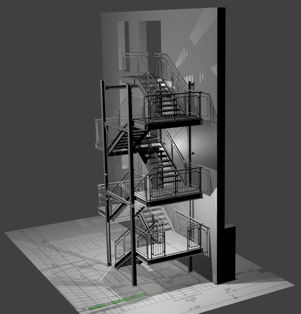 Emergency Staircase - Steel Construction   3D CAD Model