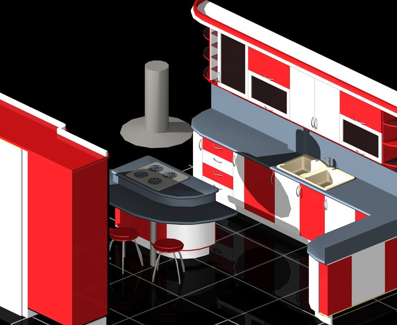 Modular Kitchen Auto Cad 3D