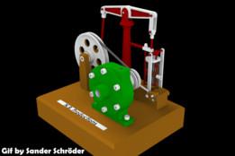 Steam engine with horizontal beam and centrifugal pump