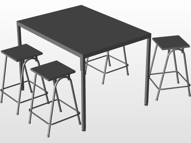 Outdoor Table and Stools   3D CAD Model Library   GrabCAD