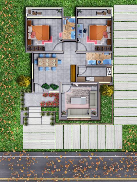 Floor Plan Photoshop Rendering 3d Cad Model Library Grabcad