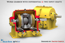 Worm gearbox with differential & two input shafts