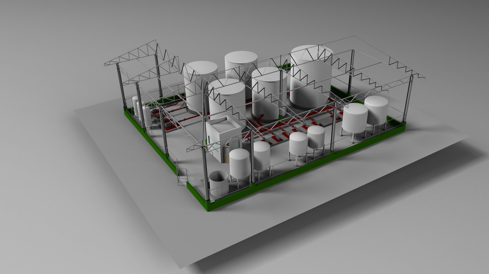Water Treatment Plant | 3D CAD Model Library | GrabCAD
