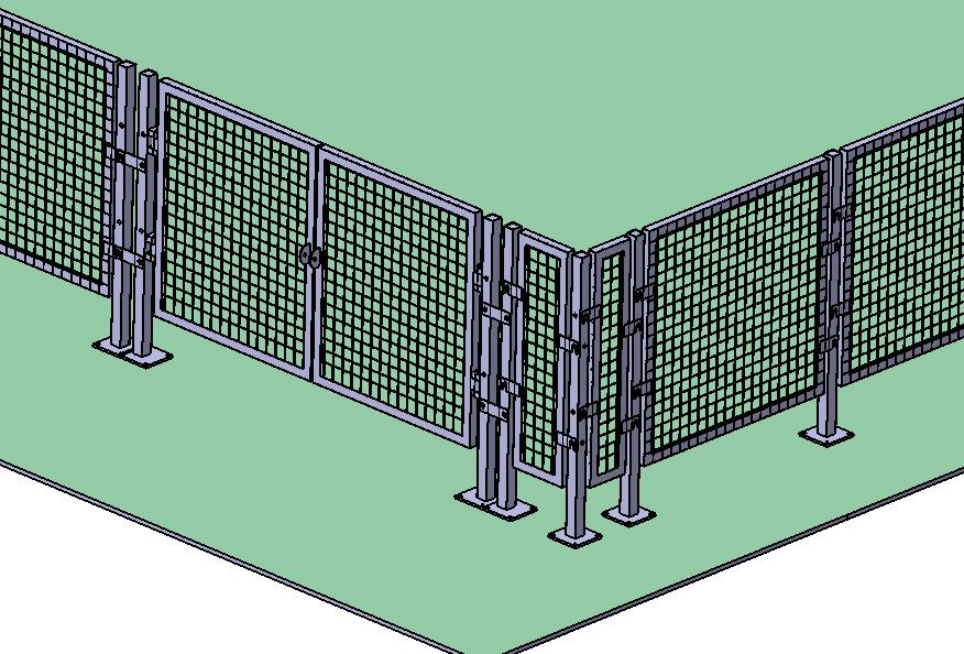 Safety Fence Layout 3d Cad Model Library Grabcad