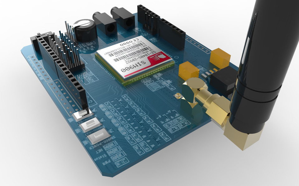 GSM SIM900 Shield For Arduino | 3D CAD Model Library | GrabCAD