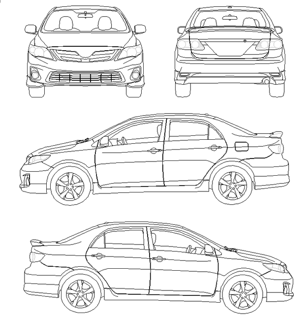 toyota corolla technical sketch pictures to pin on