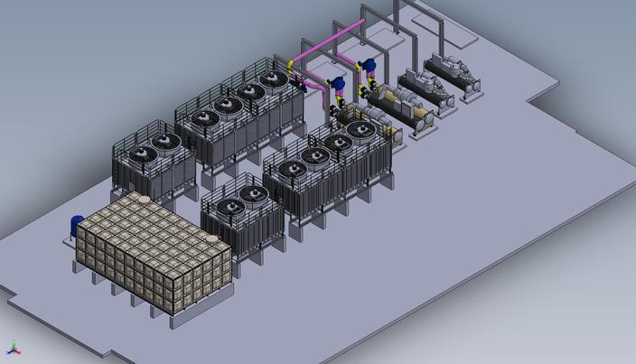 Chiller  U0026 Cooling Tower Assembly - - 3d Cad Model