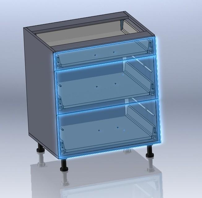 Blum TANDEM Lower Kitchen Cabinets 3 Drawers.