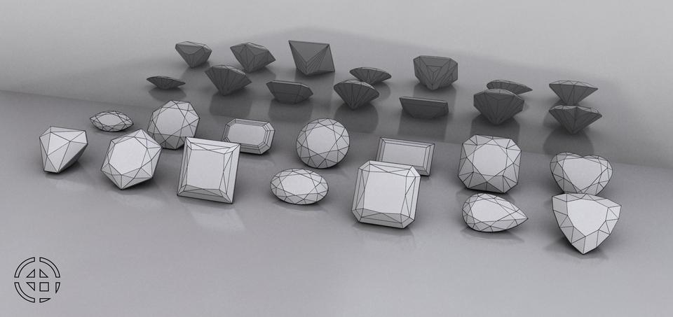 10 GEMSTONE SHAPES | 3D CAD Model Library | GrabCAD