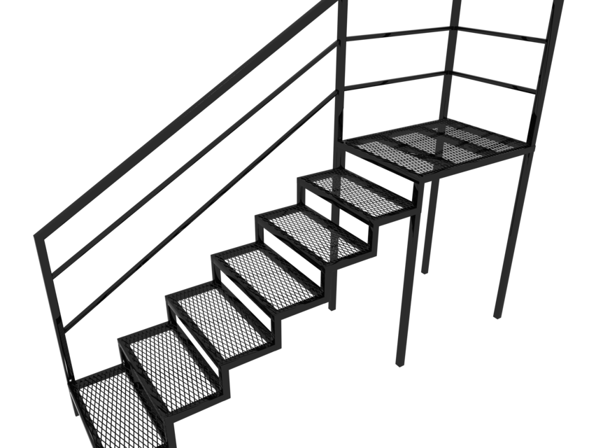 Steel Stairs Outside | 3D CAD Model Library | GrabCAD