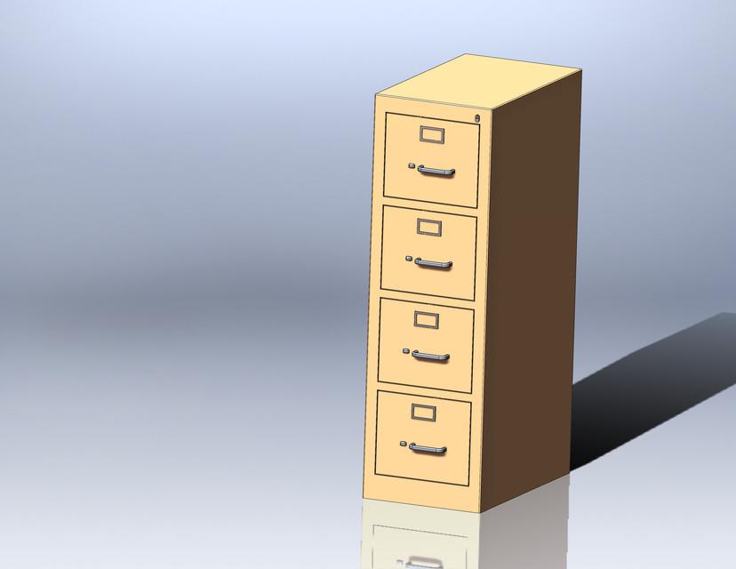 4 drawer file cabinet   3D CAD Model Library   GrabCAD