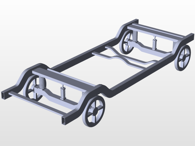 car frame,chassis and attached front axle using pneumatic cylinder ...