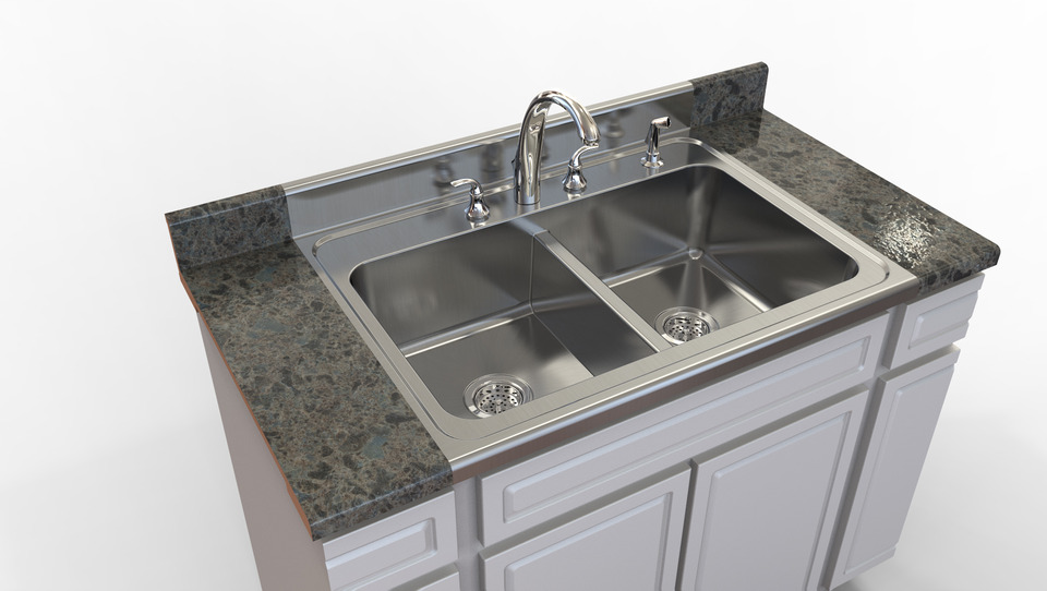 kitchen sink stlstep iges 3d cad model grabcad - Kitchen Sink Models