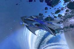 blue space ship