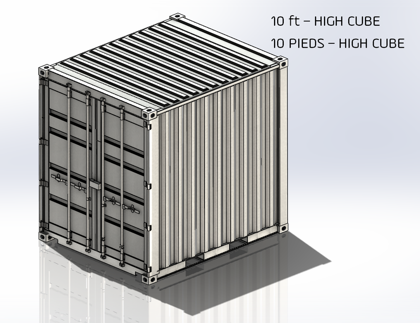 10 ft High Cube Container   3D CAD Model Library   GrabCAD