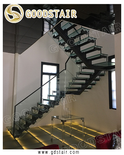 single stringer glass staircase | 3D CAD Model Library | GrabCAD