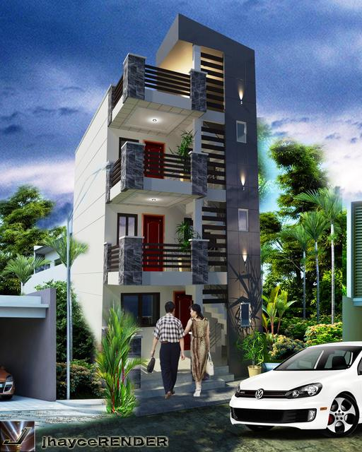Proposed 3storey Apartment W Roof Deck 3d Cad Model Library Grabcad