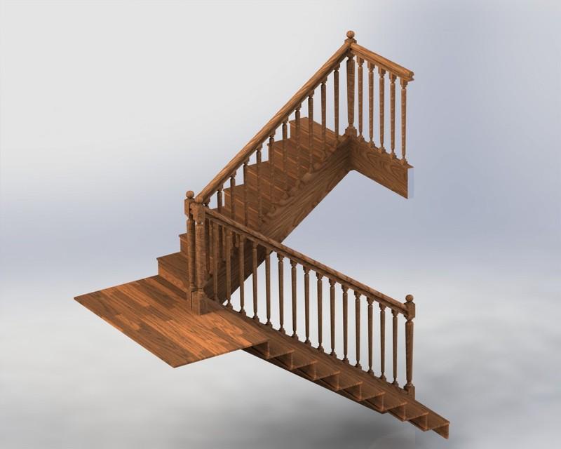 escalier droit solidworks