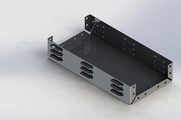 Sheet metal box with louvers and holes