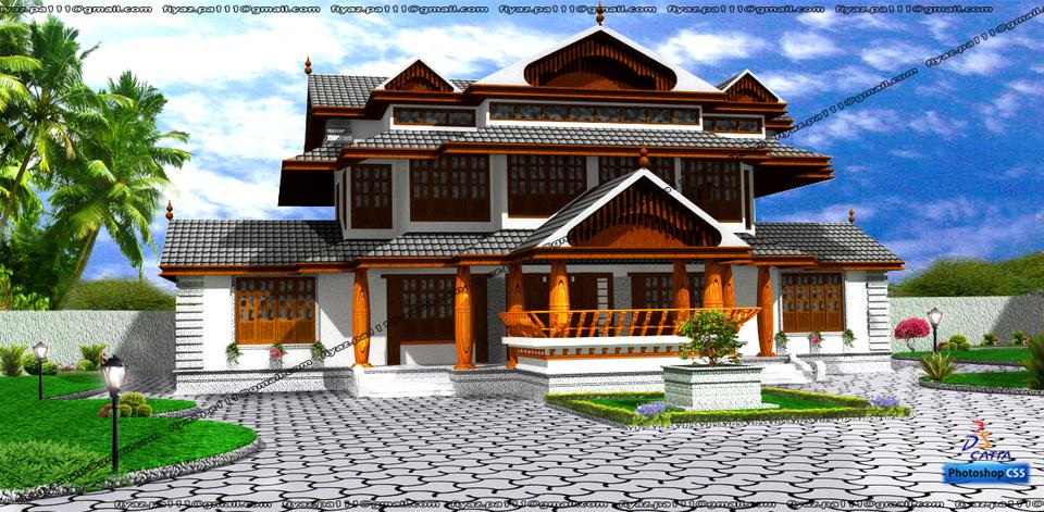 traditional kerala home catia 3d cad model grabcad On kerala traditional house models