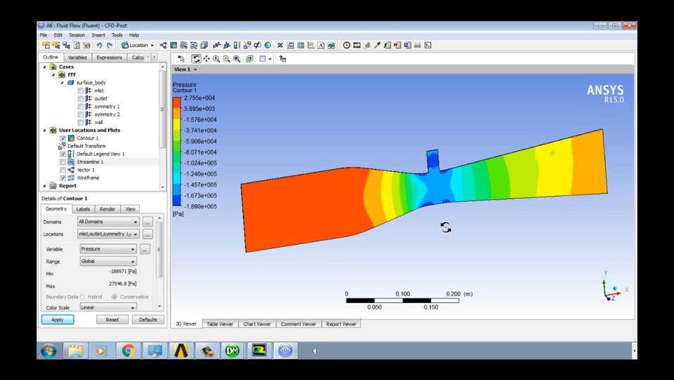 Venturi Analysis - Ansys Tutorial | 3D CAD Model Library