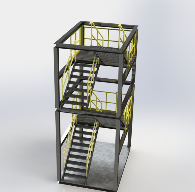 Uneven Level Stair Tower Solidworks Keycreator Step