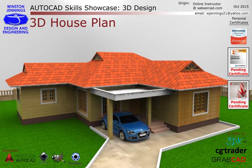House plan 3d in autocad house plans House plan drawing 3d