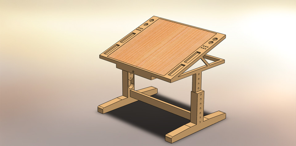 Drawing Table For Designer 3d Cad Model Library Grabcad