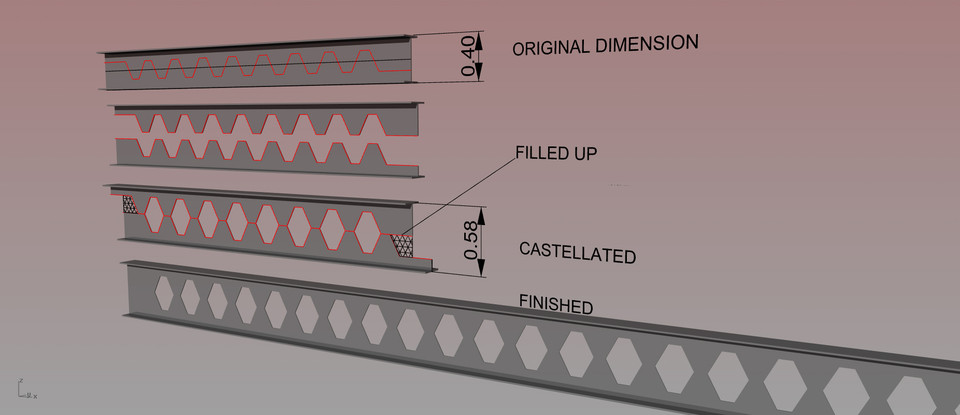 CASTELLATED BEAM | 3D CAD Model Library | GrabCAD