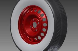 steel rim + white wall tyre
