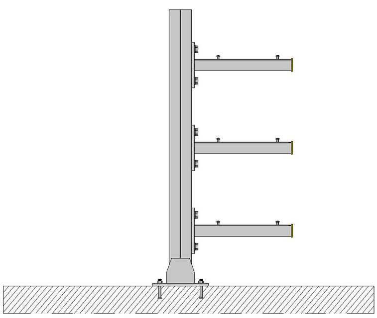 Double Strut Floor based Multi-Tier Cable Tray Support | 3D CAD