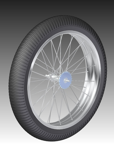 24 inch, 100mm wide bicycle wheel Grimmbikes
