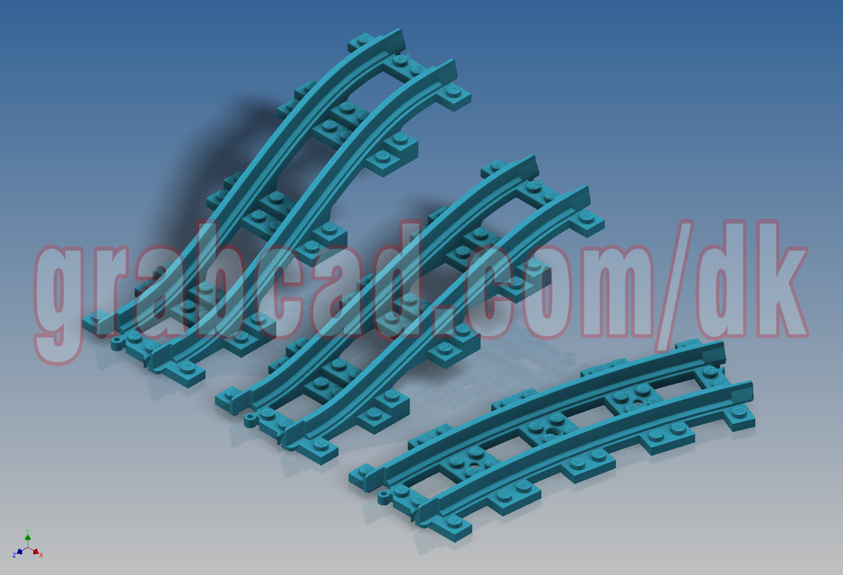 LEGO Train Tracks (Narrow) | 3D CAD Model Library | GrabCAD