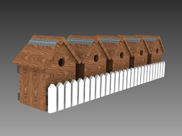 Bird houses in rows