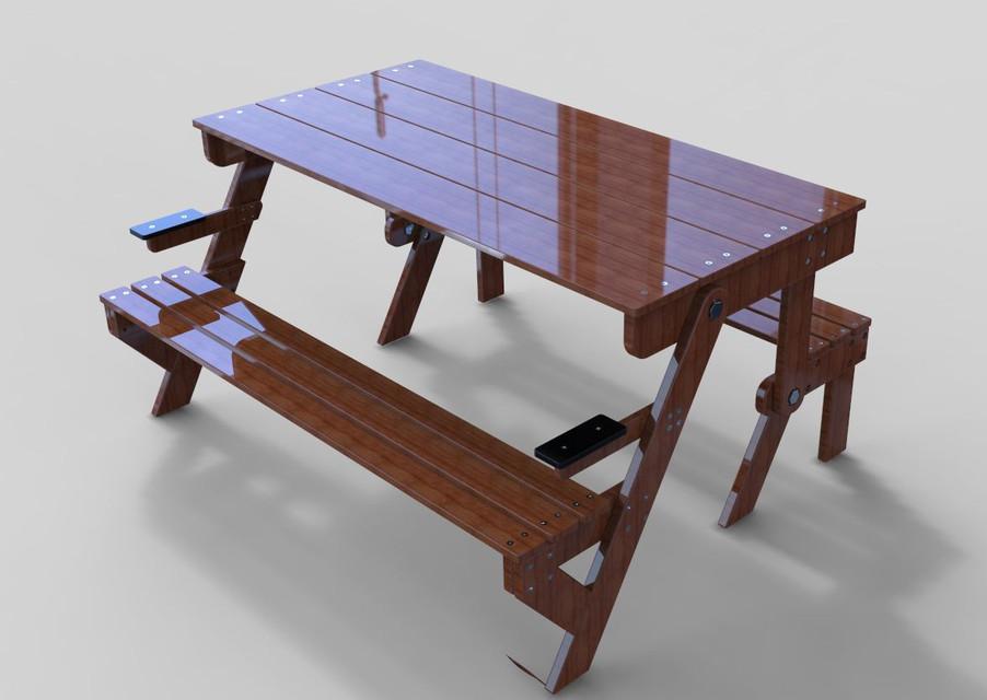 table et banc pliable 3d cad model library grabcad. Black Bedroom Furniture Sets. Home Design Ideas