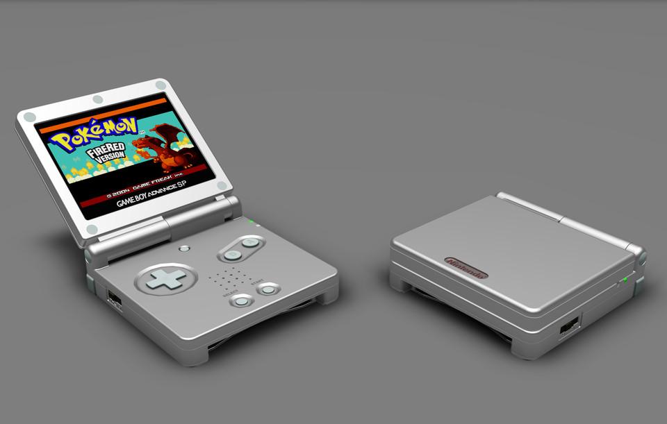 game boy advance sp 3d cad model library grabcad