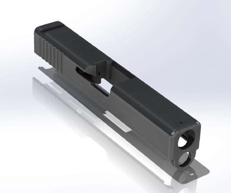 Glock 19 Gen3 slide   3D CAD Model Library   GrabCAD