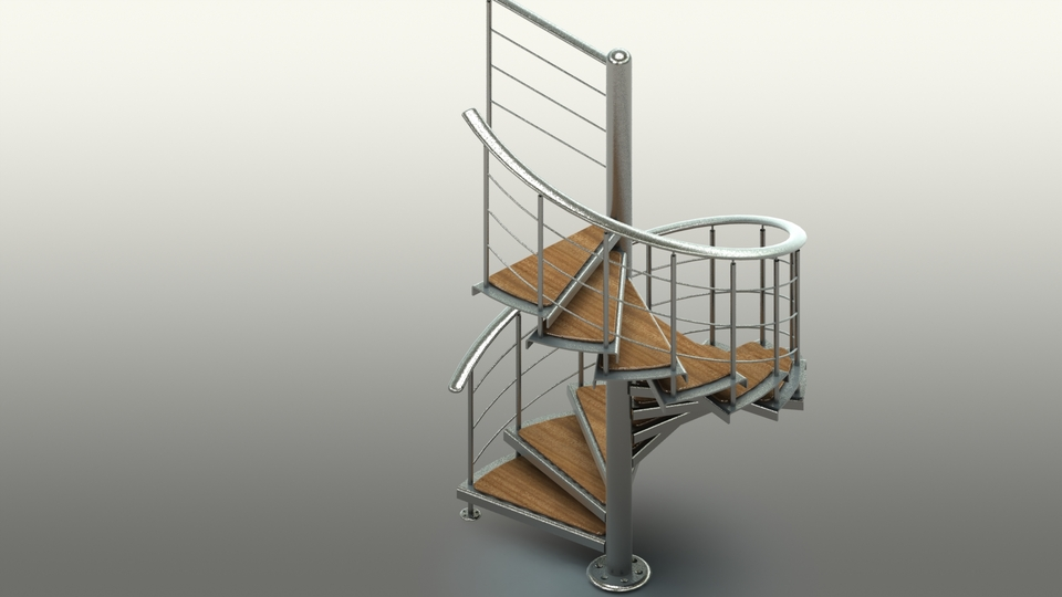 Spiral staircase step iges solidworks 3d cad model Spiral stair cad