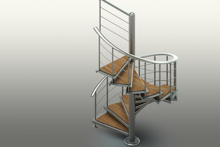 Spiral Staircase Step Iges Solidworks 3d Cad Model