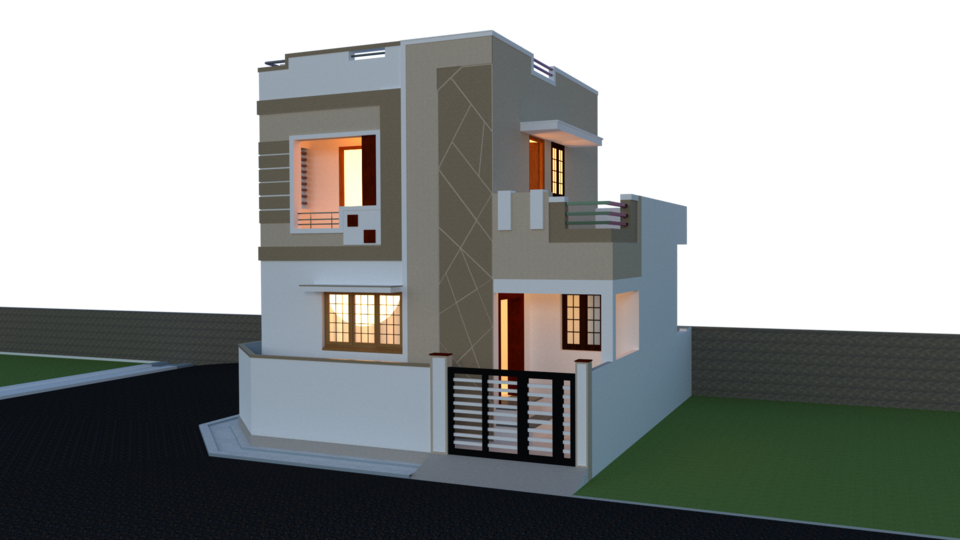 Residential Building Exterior Render | 3D CAD Model Library