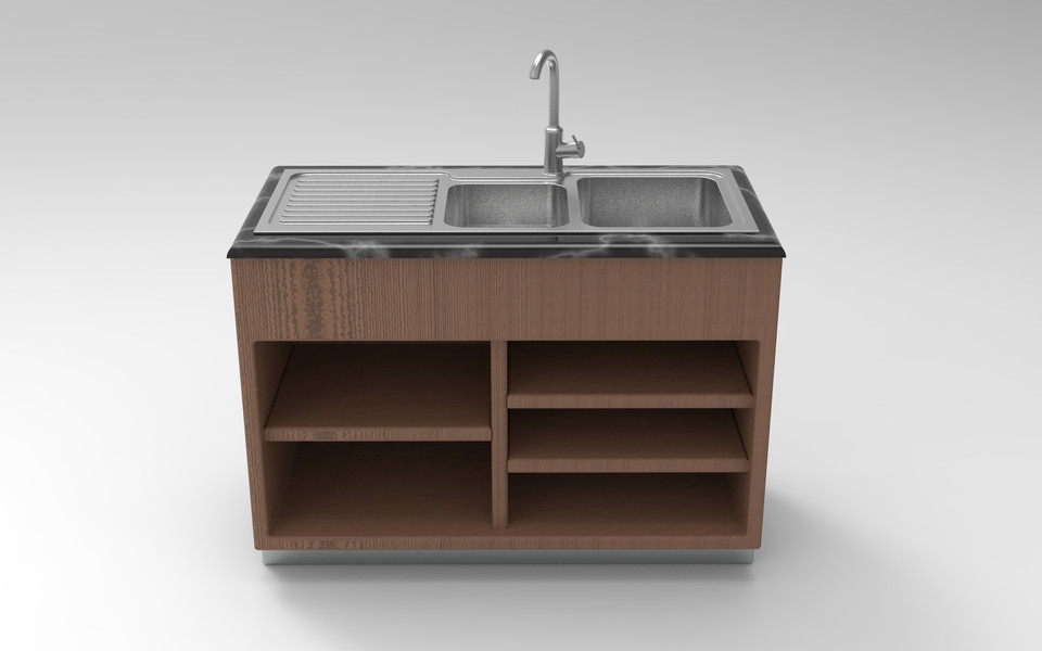 Kitchen Sink With Wooden Cabinet 3d Model 3d Cad Model Library Grabcad