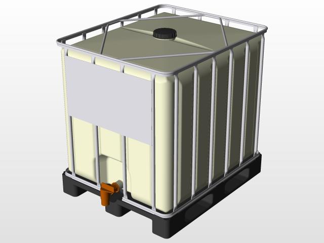 Ibc Tank 1000l Fuel Or Water 3d Cad Model Library Grabcad