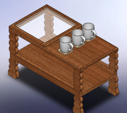 Móvel de decoração mesa de centro suporte para canecas. (Furniture of decoration coffee table stand for mugs.)